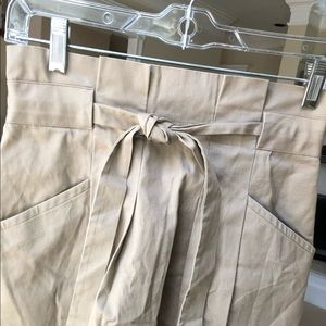 BCBG high waisted khaki skirt with front tie.